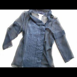 CHLOE Pleated Sheer Silk Blouse Button Down S 38